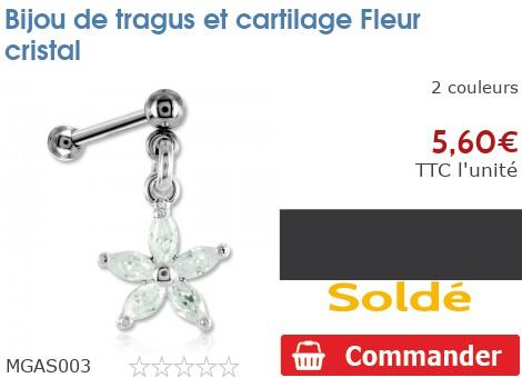 Bijou de tragus et cartilage Fleur cristal