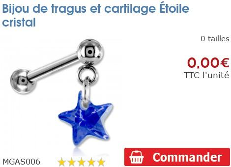 Bijou de tragus et cartilage Étoile cristal