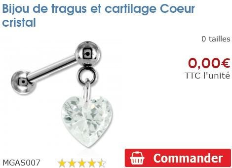 Bijou de tragus et cartilage Coeur cristal