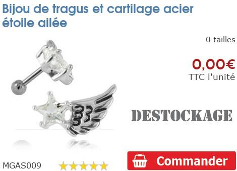 Bijou de tragus et cartilage acier étoile ailée