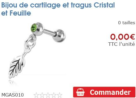 Bijou de cartilage et tragus Cristal et Feuille