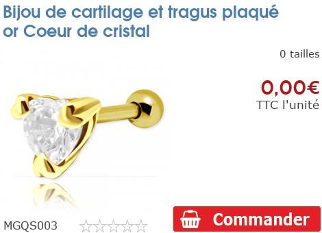 Bijou de cartilage et tragus plaqué or Coeur de cristal