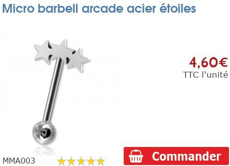 Micro barbell arcade acier étoiles