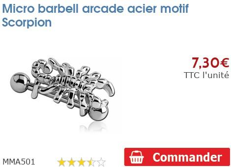 Micro barbell arcade acier motif Scorpion