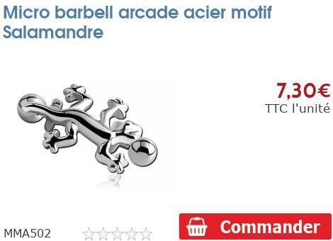 Micro barbell arcade acier motif Salamandre