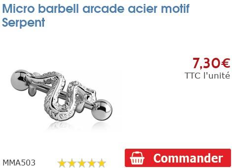 Micro barbell arcade acier motif Serpent