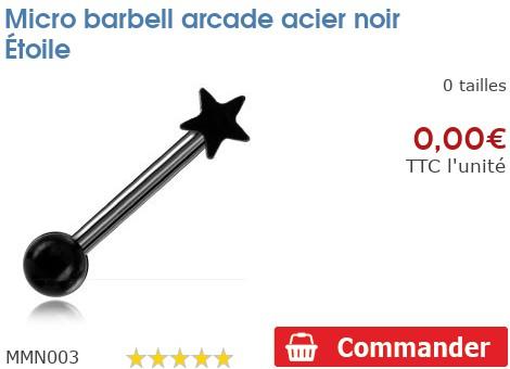Micro barbell arcade acier noir Étoile