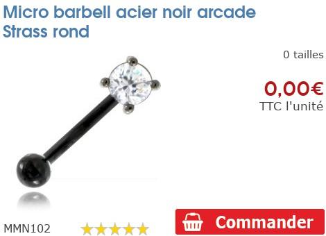 Micro barbell acier noir arcade Strass rond