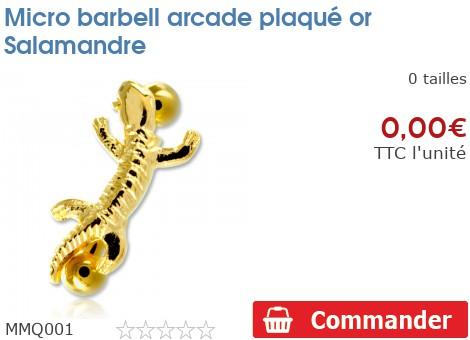 Micro barbell arcade plaqué or Salamandre