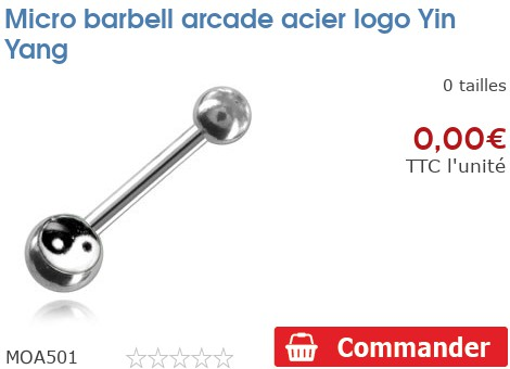 Micro barbell arcade acier logo Yin Yang