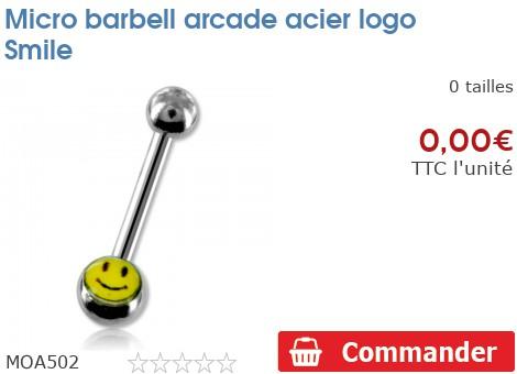 Micro barbell arcade acier logo Smiley