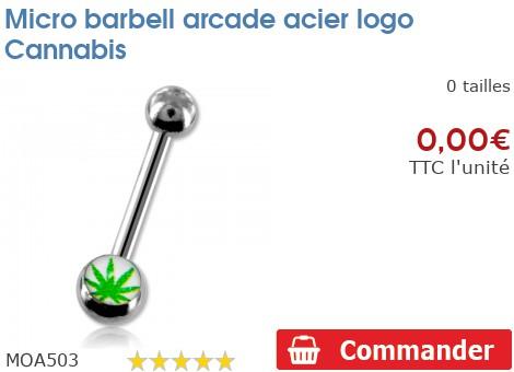 Micro barbell arcade acier logo Cannabis