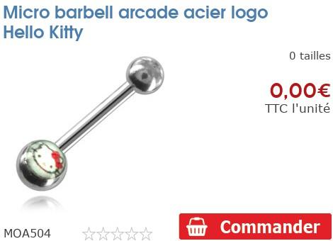 Micro barbell arcade acier logo Hello Kitty