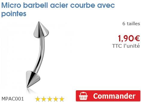 Micro barbell acier courbe avec pointes