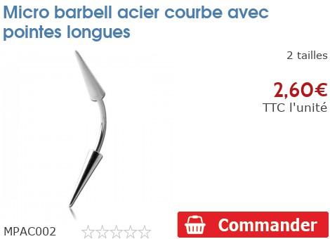 Micro barbell arcade acier pointes longues