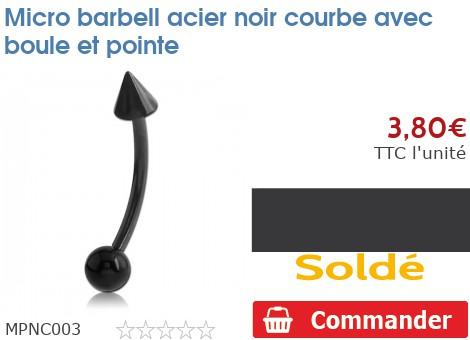 Micro barbell acier noir courbe avec boule et pointe