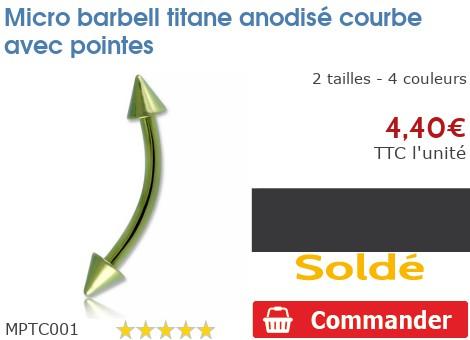 Micro barbell courbe titane anodisé avec pointes