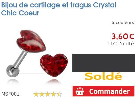 Bijou de cartilage et tragus Crystal Chic Coeur