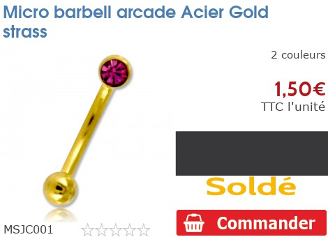 Micro barbell arcade Gold PVD strass