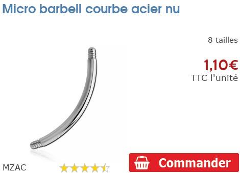 Micro barbell courbe acier nu