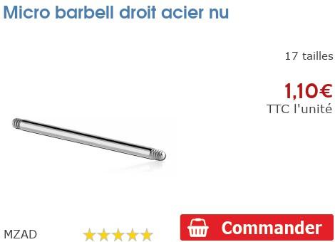Micro barbell droit acier nu