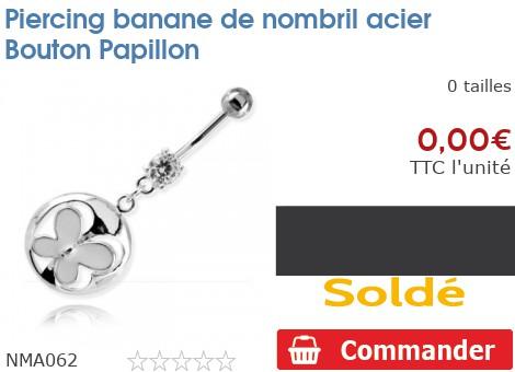 Piercing banane de nombril acier Bouton Papillon