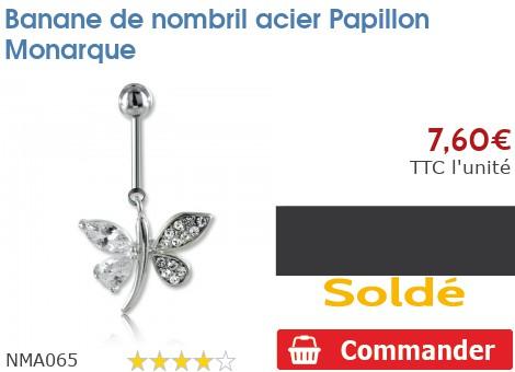 Piercing banane de nombril acier Papillon Monarque