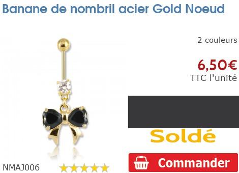 Piercing banane de nombril gold PVD Noeud