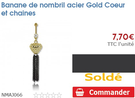 Piercing banane de nombril acier Gold PVD Coeur et chaines