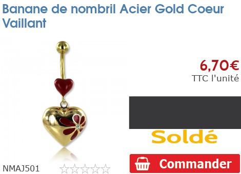 Piercing banane de nombril Acier Gold Coeur Vaillant