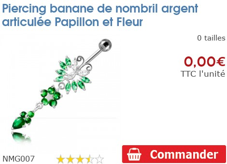 Piercing banane de nombril argent articulée Papillon et Fleur