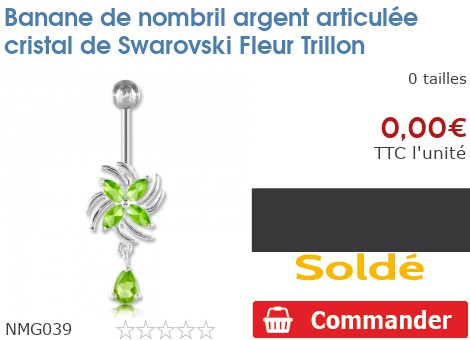 Piercing banane de nombril argent articulée Fleur Trillon