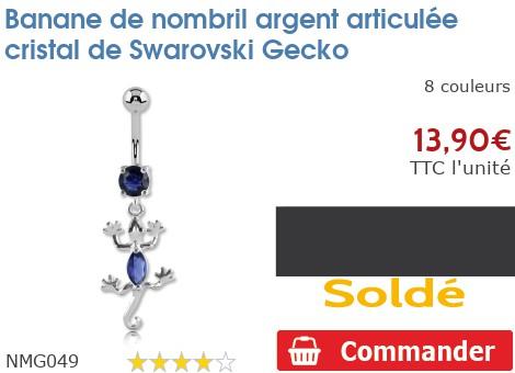 Piercing banane de nombril argent articulée Gecko