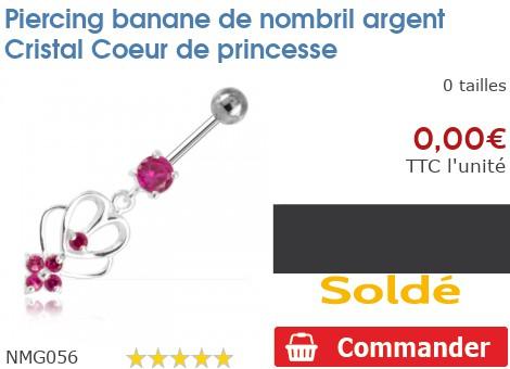 Piercing banane de nombril argent Cristal Coeur de princesse