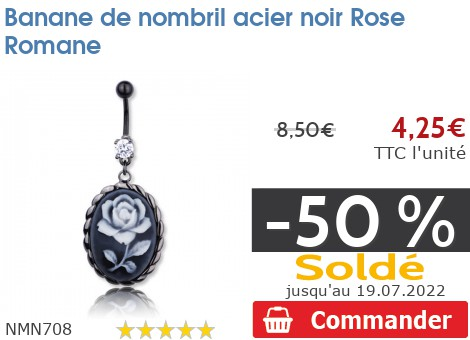 Piercing banane de nombril acier noir Rose Romane