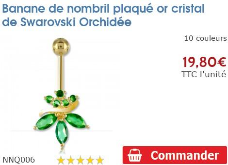 piercing banane de nombril plaqu or orchid e nnq006. Black Bedroom Furniture Sets. Home Design Ideas