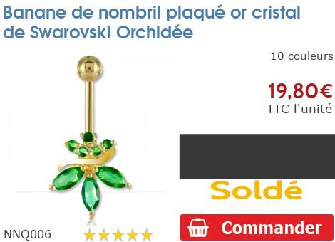 Piercing banane de nombril plaqué or Orchidée