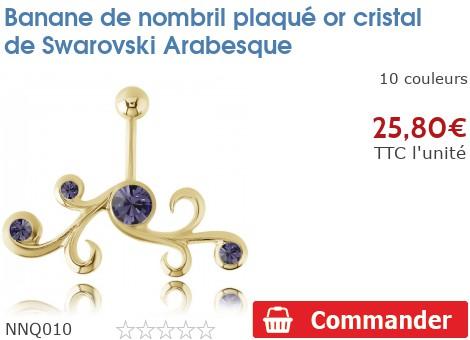 piercing banane de nombril plaqu or arabesque nnq010. Black Bedroom Furniture Sets. Home Design Ideas