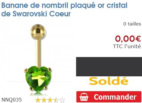 Piercing banane de nombril plaqué or Coeur en cristal