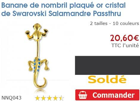 Piercing banane de nombril plaqué or Salamandre Passthru