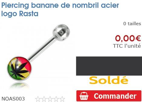 Piercing banane de nombril acier logo Rasta