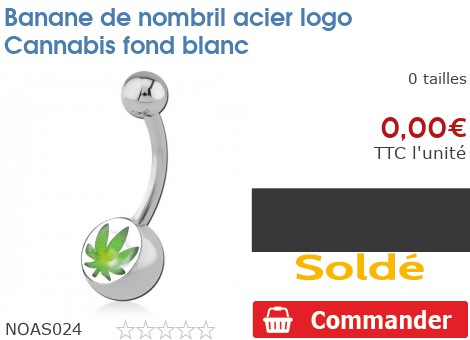 Piercing banane de nombril acier logo Cannabis fond blanc