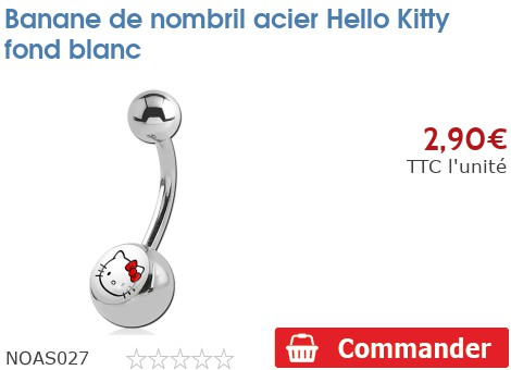 Piercing banane de nombril acier Hello Kitty fond blanc