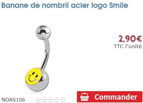 Piercing banane de nombril acier logo Smiley