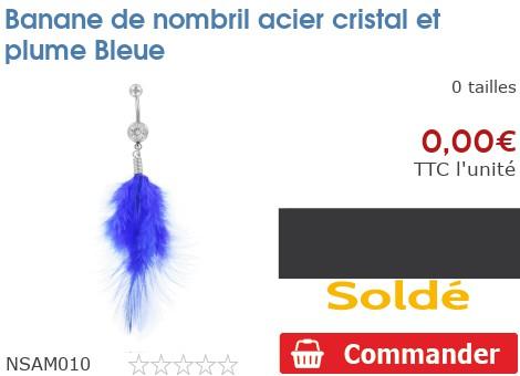 Banane de nombril acier cristal et plume Bleue