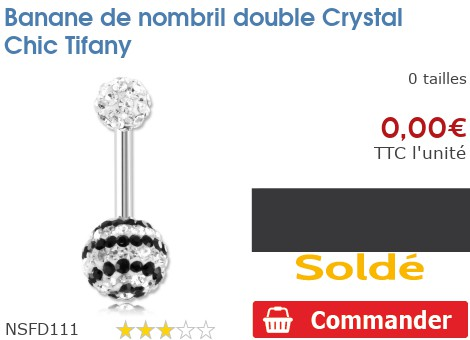 Piercing banane de nombril double Crystal Chic Tifany