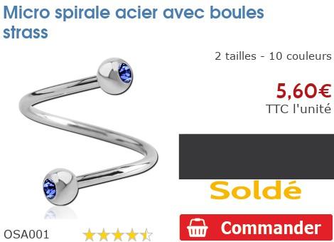 Micro spirale boules strass acier