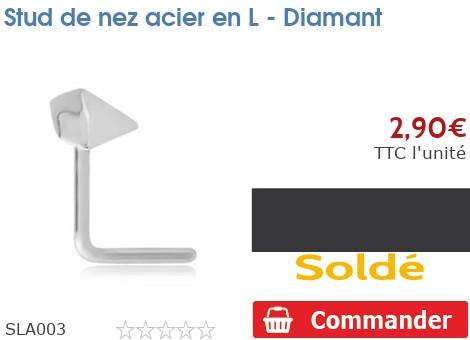 Stud de nez acier en L - Diamant