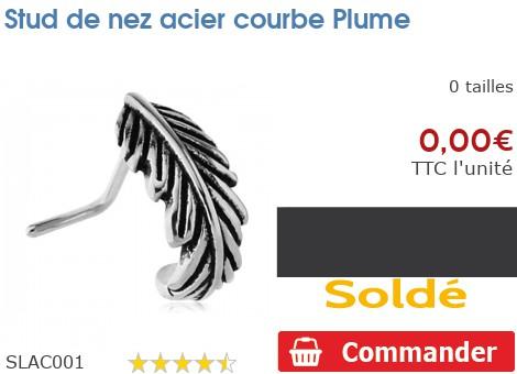 Stud de nez acier courbe Plume