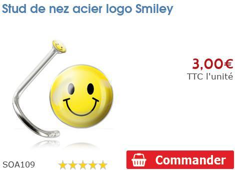 Stud de nez acier logo Smiley